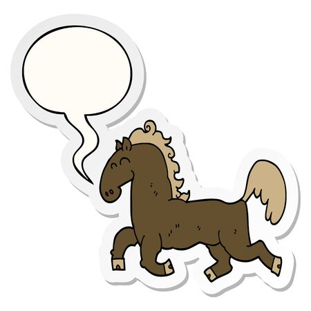 cartoon stallion with speech bubble sticker Stok Fotoğraf - 130430070