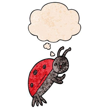 cute cartoon ladybug with thought bubble in grunge texture style Ilustracja
