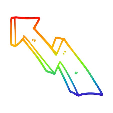 rainbow gradient line drawing of a cartoon rising arrow
