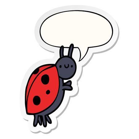cartoon ladybug with speech bubble sticker Ilustracja