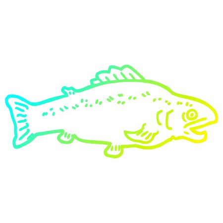 cold gradient line drawing of a cartoon large fish