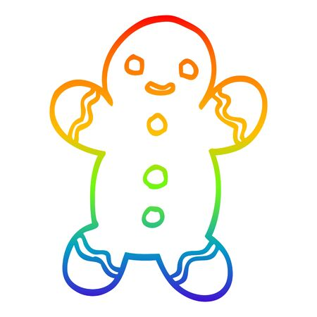 rainbow gradient line drawing of a cartoon gingerbread man