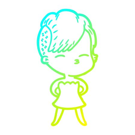 cold gradient line drawing of a cartoon squinting girl in dress