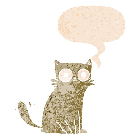 cartoon cat with speech bubble in grunge distressed retro textured style