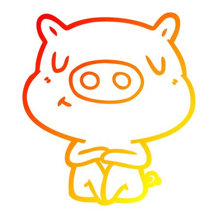 warm gradient line drawing of a cartoon content pig meditating