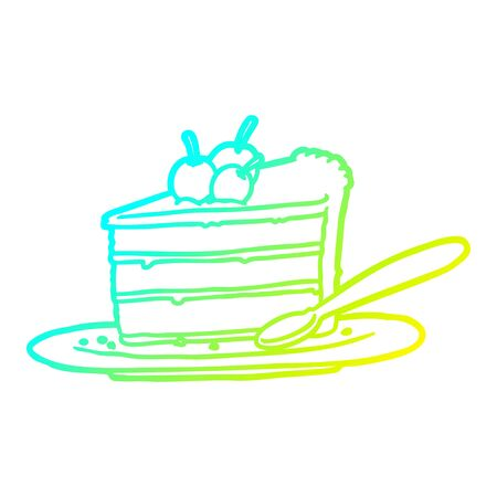 cold gradient line drawing of a expensive slice of chocolate cake