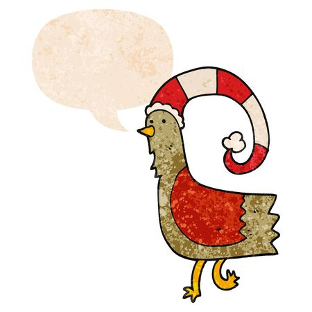 cartoon chicken in funny christmas hat with speech bubble in grunge distressed retro textured style