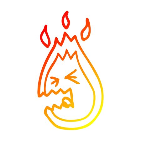 warm gradient line drawing of a cartoon screaming flame