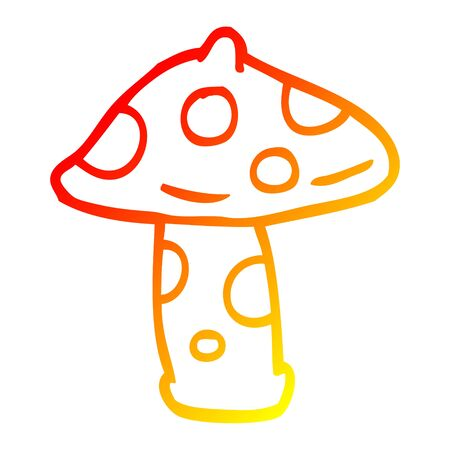 warm gradient line drawing of a cartoon mushroom Stock fotó - 130430638