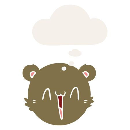 cute cartoon teddy bear face with thought bubble in retro style