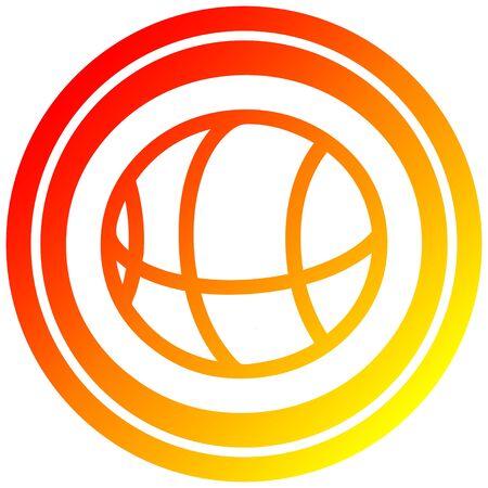 basketball sports icon with warm gradient finish Иллюстрация