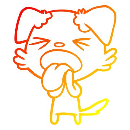 warm gradient line drawing of a cartoon disgusted dog