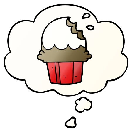 cartoon cupcake with thought bubble in smooth gradient style