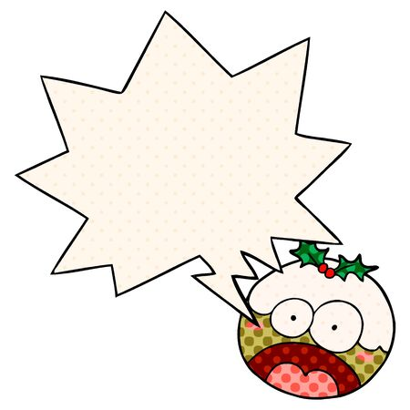 cartoon christmas pudding with shocked face with speech bubble in comic book style