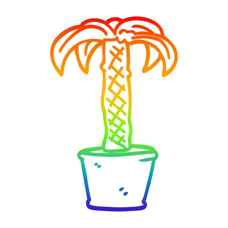 rainbow gradient line drawing of a cartoon potted plant