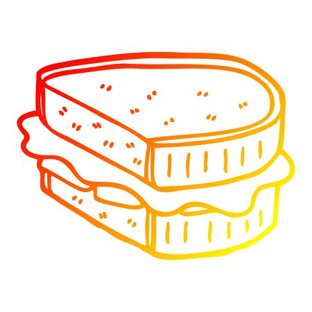 warm gradient line drawing of a cartoon loaded sandwich