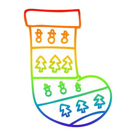 rainbow gradient line drawing of a cartoon christmas stockings