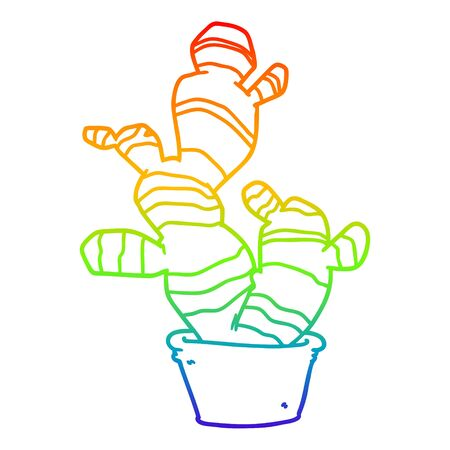 rainbow gradient line drawing of a cartoon cactus