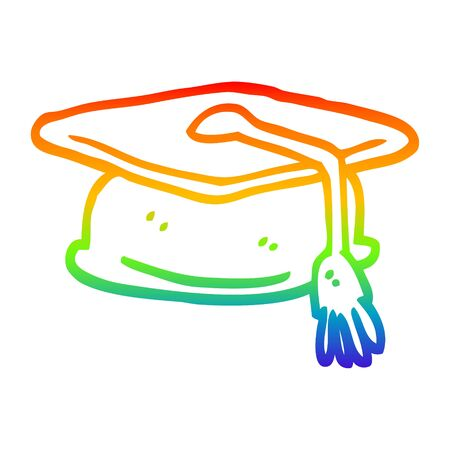 rainbow gradient line drawing of a cartoon graduation hat