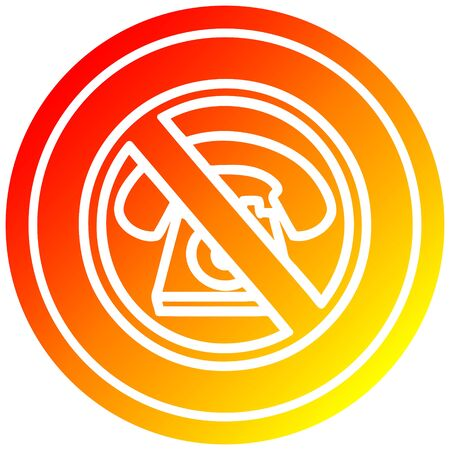 no cold calling circular icon with warm gradient finish