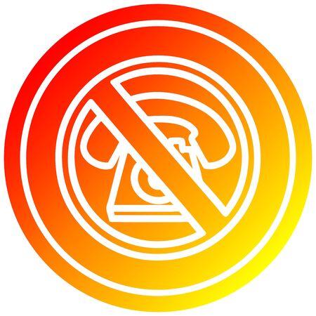 no cold calling circular icon with warm gradient finish Banco de Imagens - 130431094