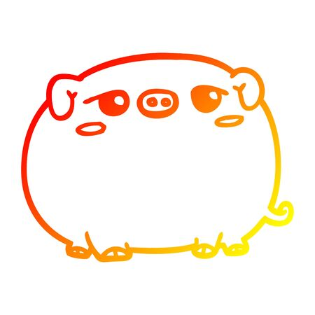 warm gradient line drawing of a cute cartoon pig  イラスト・ベクター素材