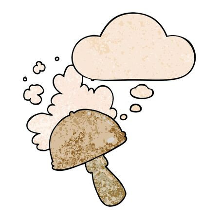 cartoon mushroom with spore cloud with thought bubble in grunge texture style