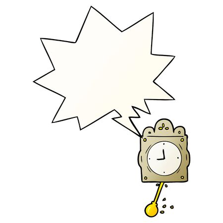 cartoon ticking clock with pendulum with speech bubble in smooth gradient style
