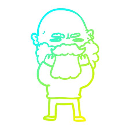 cold gradient line drawing of a cartoon man with beard frowning checking his beard