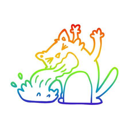 rainbow gradient line drawing of a cartoon cat being sick Ilustração