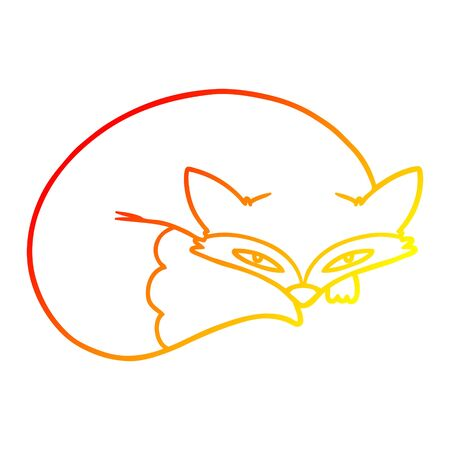 warm gradient line drawing of a cartoon curled up fox