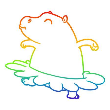 rainbow gradient line drawing of a cartoon hippo ballerina