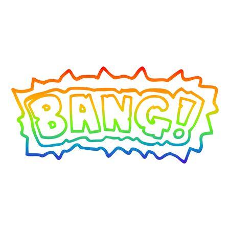 rainbow gradient line drawing of a cartoon word bang