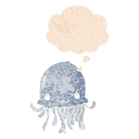 cartoon jellyfish with thought bubble in grunge distressed retro textured style