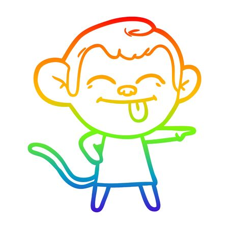 rainbow gradient line drawing of a funny cartoon monkey pointing Иллюстрация