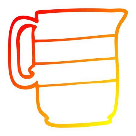 warm gradient line drawing of a cartoon milk jug