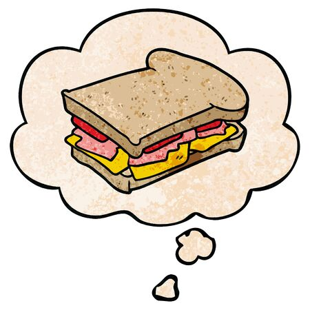 cartoon ham sandwich with thought bubble in grunge texture style
