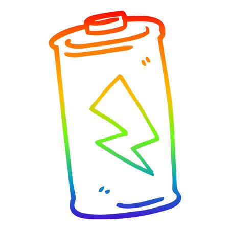 rainbow gradient line drawing of a cartoon battery