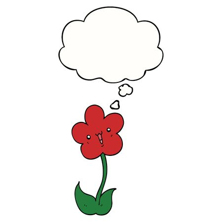 cartoon flower with thought bubble Ilustracja