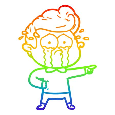 rainbow gradient line drawing of a cartoon crying man