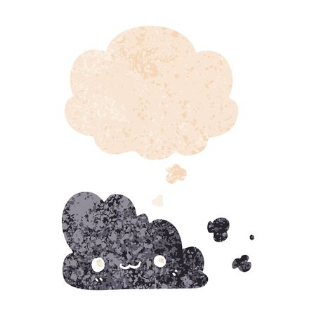cute cartoon cloud with thought bubble in grunge distressed retro textured style Çizim