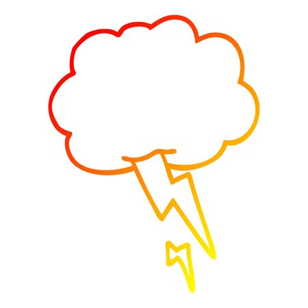 warm gradient line drawing of a cartoon storm cloud with lightning