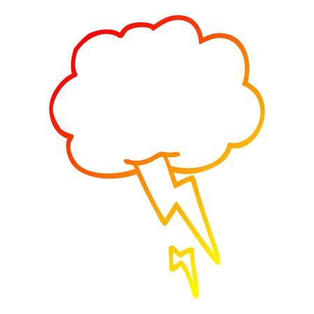 warm gradient line drawing of a cartoon storm cloud with lightning Banco de Imagens - 130432254