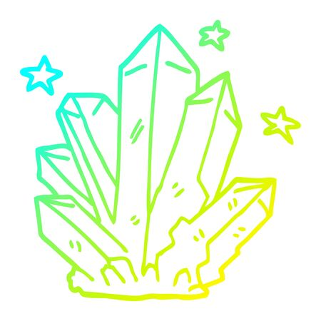 cold gradient line drawing of a cartoon magic crystal  イラスト・ベクター素材