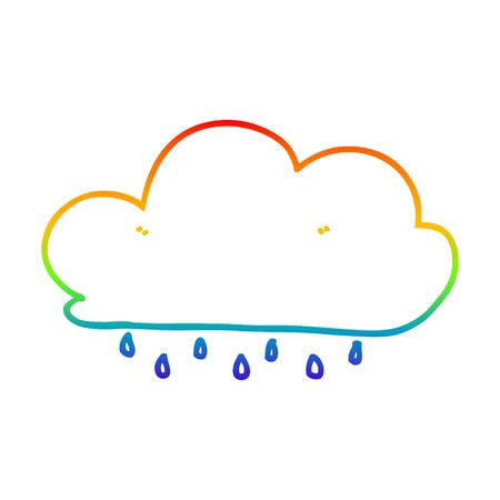 rainbow gradient line drawing of a cartoon rain cloud