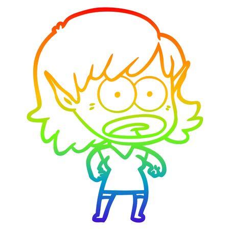 rainbow gradient line drawing of a cartoon shocked elf girl