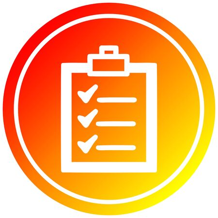check list circular icon with warm gradient finish 向量圖像