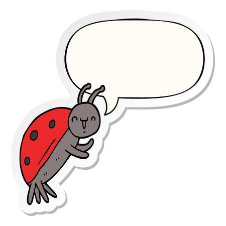cute cartoon ladybug with speech bubble sticker Çizim
