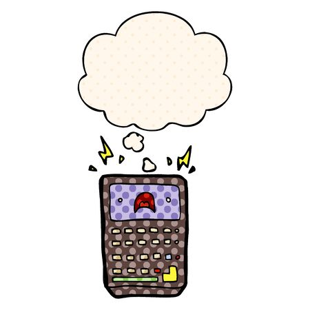 cartoon calculator with thought bubble in comic book style