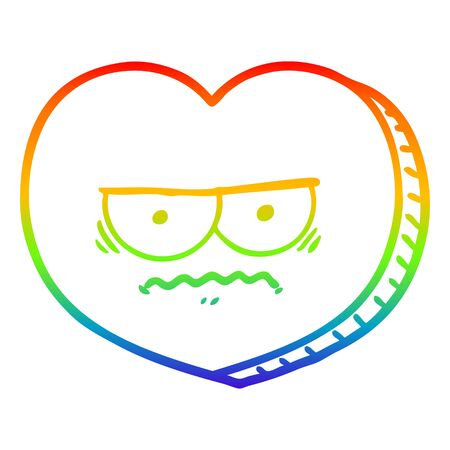 rainbow gradient line drawing of a cartoon angry heart